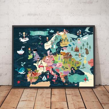Mapa granatowa. Europa II Plakat dla dzieci.