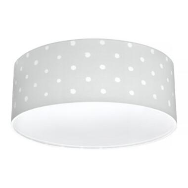 Oryginalny plafon Lovely Dots Grey to pomysł na główne oświetlenie do dziecięcego pokoju.