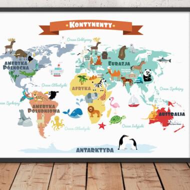 Mapa Kontynentów. Biała