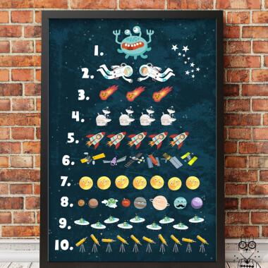 Liczby kosmiczne z ufoludkiem..- plakat do pokoju dziecka