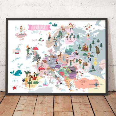 Mapa biała. Europa.Plakat z mapą dla dzieci.