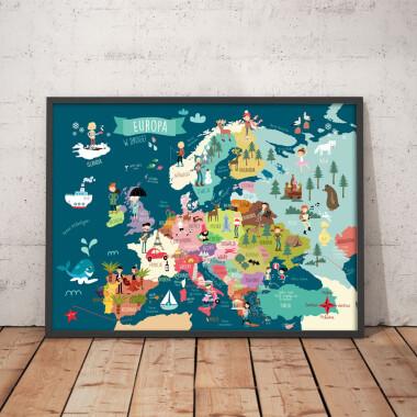 Mapa granatowa. Europa. Plakat z mapą do pokoju dziecka.