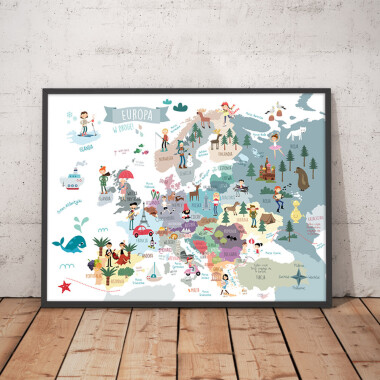 Mapa Europy. Kolory szary/niebieskii- plakat z mapą do pokoju dziecka