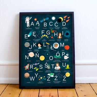 Alfabet Kosmos II Czarny- plakat do pokoju dziecka