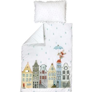 Amsterdam_Piękny i elegancki zestaw pościeli z wypełnieniem – kołderka oraz poduszka z falbanką.