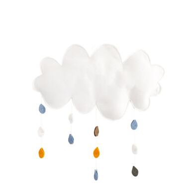 Chmura z deszczem – dekoracja ścienna z filcu