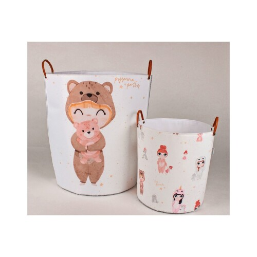 Pojemnik/kosz na zabawki - dziewczynka z misiem. Ozdoba do pokoju dziecka, pojemnik na zabawki, kosz na ubrania-kolorowy z misiami