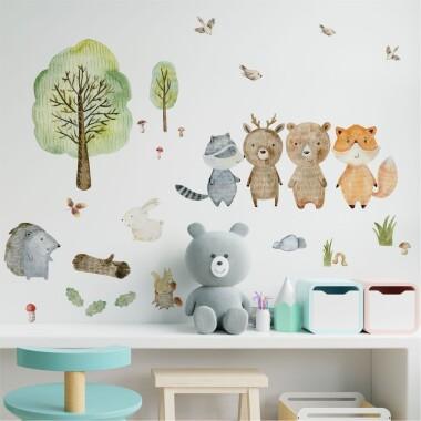 """Leśny Świat """"L"""" - Niedźwiadek, Jelonek, Lisek, Jeżyk - Naklejki Na Ścianę, Naklejki Ścienne"""