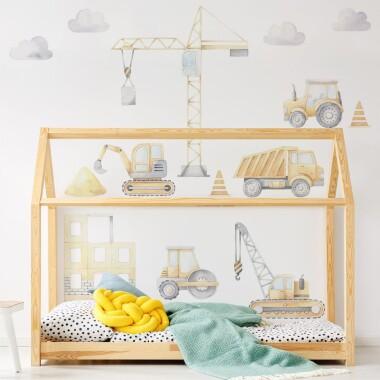 Plac Budowy, Koparka, Traktor, Ciężarówka, Dźwig - Naklejki Na Ścianę, Naklejki Dla Dzieci