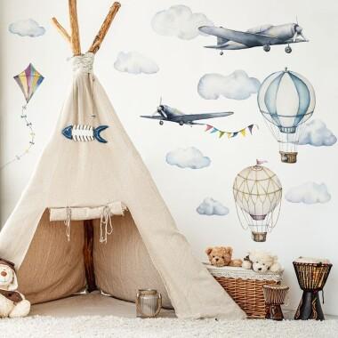 Samoloty, Balony, Latawiec - Naklejki Na Ścianę, Naklejki Ścienne