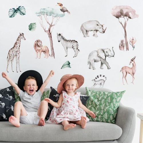 Sawanna - Naklejki Na Ścianę, Naklejki Ścienne - Komplet  naklejek do pokoju dziecięcego