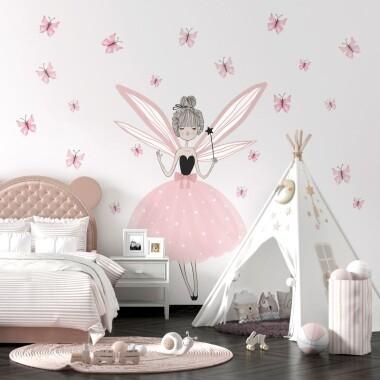 Wróżka Z Motylkami - Naklejki Na Ścianę, Naklejki Ścienne