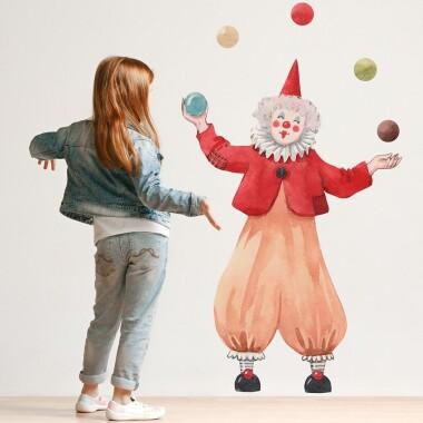 CYRK, Klaun Żongler - Naklejki Na Ścianę, Naklejki Ścienne