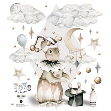 Naklejka na ścianę do pokoju dziecka-królik z kapelusza, magia