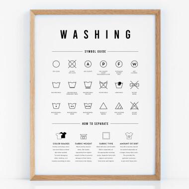Grafika z symbolami to idealny dodatek do pralni /suszarni.