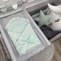 Miętowy rożek dla noworodka/niemowlęcy z falbanką. Wyprawka do szpitala.