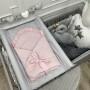 Różowy rożek dla noworodka/niemowlęcy z falbanką. Wyprawka do szpitala.