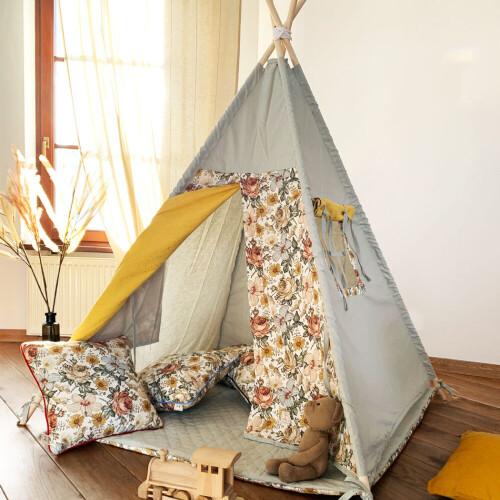 Meadow – tipi, namiot dla dzieci z matą podłogową-TIPI W KWIATY BOHO