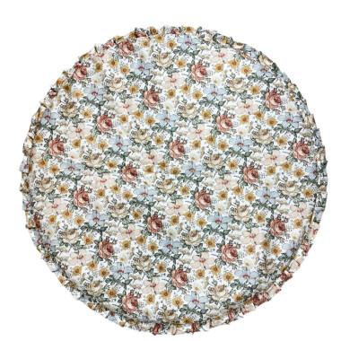 Okrągła mata w kwiaty -może służyć do zabawy, leżenia na brzuszku ale także jako ozdobny dywanik/