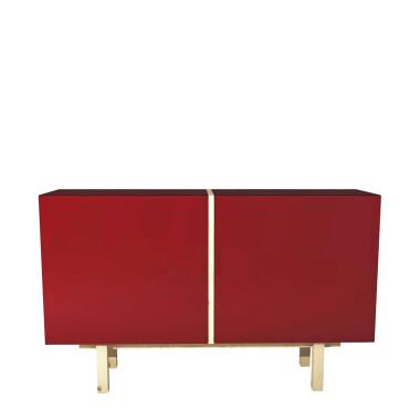 Czerwona komoda z drewna sosnowego. Minimalistyczny mebel do salonu, sypialni czy pokoju dziecięcego.
