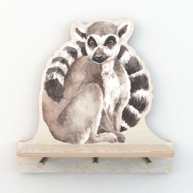 Mała półka ze sklejki do pokoju dziecka-na książki, na zabawki, obrazki-lemur