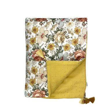 Meadow – kocyk niemowlęcy 100 x 78 cm z chwostami-żółty kocyk w kwiaty