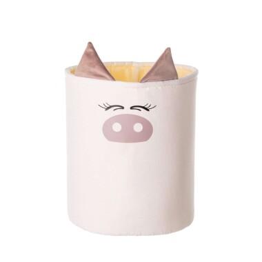 Oryginalny pojemnik na zabawki z motywem świnki.