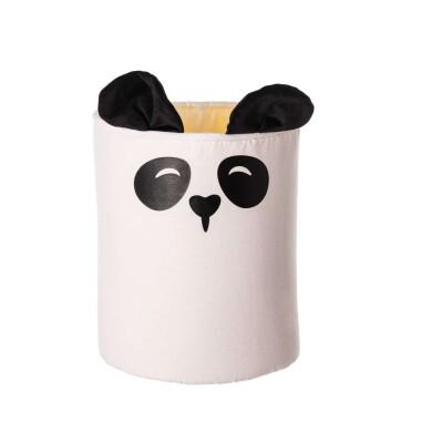 Fantazyjny pojemnik na zabawki z motywem misia pandy.