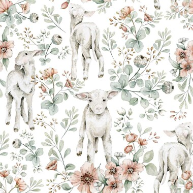 Tapeta w male owieczki do pokoju dziecka