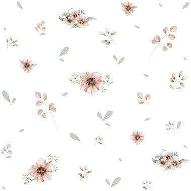 Tapeta do pokoju dziecka delikatna w kwiatki i listki na białym tle.