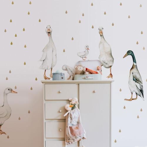 Białe kaczki-naklejki ścienne do pokoju dziecka