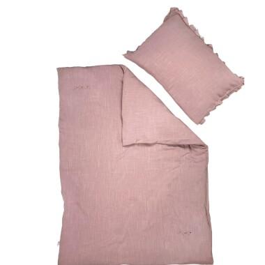 Lniany Zakątek – pościel - poszewka na kołdrę i poduszkę Rose