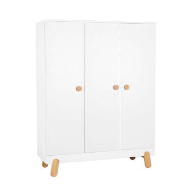 Duża szeroka pojemna biała szafa do pokoju dziecka.