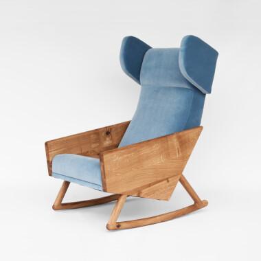 Wygodny, duży bujany fotel drewniany na płozach do salonu, sypialni, do karmienia Liu rocking. Niebieski fotel, czerwony fotel, zielony fotel, pomarańczowy fotel, fotel uszak.