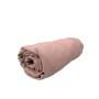 Prześcieradło na gumkę do łóżeczka dziecięcego w kolorze beżowym - Lniany zakątek Rose (róż)