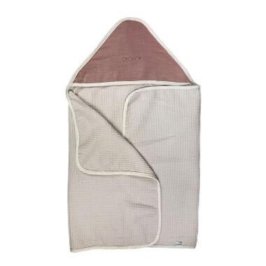 Lniany Zakątek – duży miękki ręcznik kąpielowy 140×70 cm z kapturem Rose