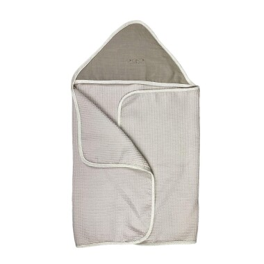 Lniany Zakątek – duży miękki ręcznik kąpielowy 140×70 cm z kapturem Toupe