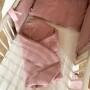 Lniany Zakątek – dwustronny, mięciutki rożek/kocyk niemowlęcy w kolorze brudnego różu