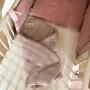 Lniany Zakątek – dwustronny, mięciutki rożek/kocyk niemowlęcy w kolorze beżowym