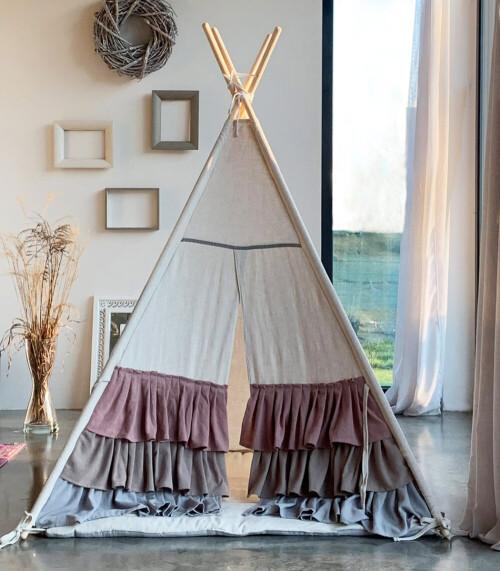 Lniany Zakątek – tipi, namiot dla dzieci z matą podłogową