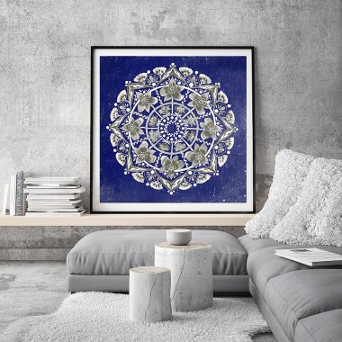 Mandala kwiatowa granatowa