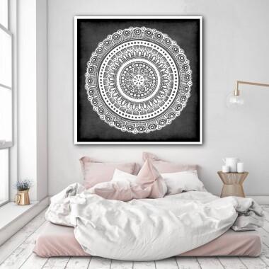 Mandala szara kwiat