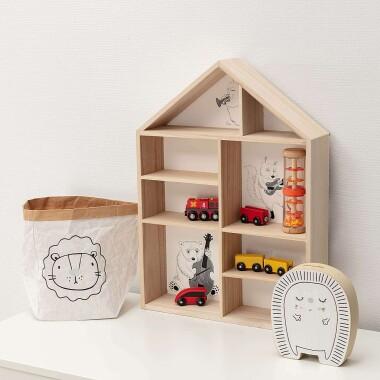 Drewniana półka do pokoju dziecięcego w kształcie domku - Półka Full House