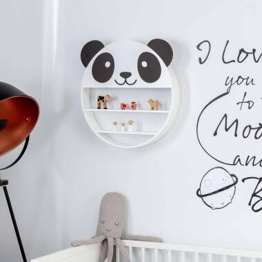 Drewniana  okrągła półka do pokoju dziecięcego w kształcie pandy - Półka Stars At Home