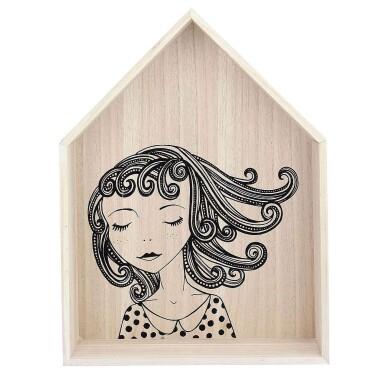 Drewniana półka do pokoju dziecięcego w kształcie domku - Lovely House pink 49cm