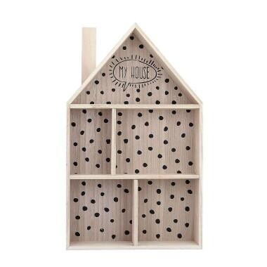 """Drewniana półka do pokoju dziecięcego w kształcie domku zdobiona czarnymi kropkami i napisem """"My House""""."""