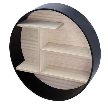 Drewniana okrągła półka do pokoju dziecięcego, do salonu, sypialni, kuchni w stylu skandynawskim, loftowym - Półka Ring black