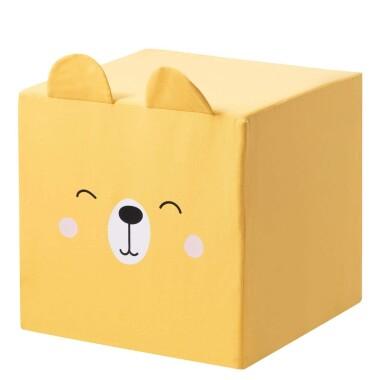 Żółty puf kostka z uszami miś  to niezwykły dodatek do pokoju dziecka.