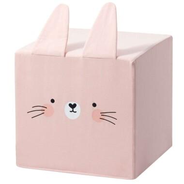 Różowy puf kostka z uszami królik  to niezwykły dodatek do pokoju dziecka.