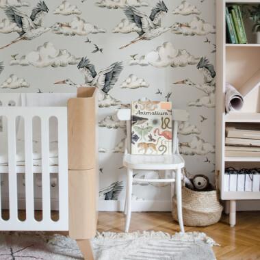 Tapeta na ścianę do pokoju dziecka w ptaki, bociany